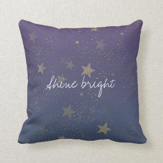 Purple Gold Stars Confetti Cushion