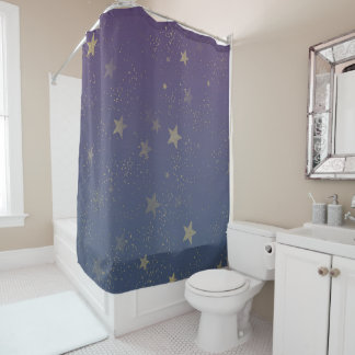 Purple Gold Stars Confetti Shower Curtain