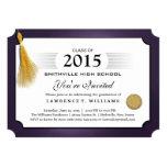 "Purple & Gold Tassel Diploma Graduation Invitation 5"" X 7"" Invitation Card"