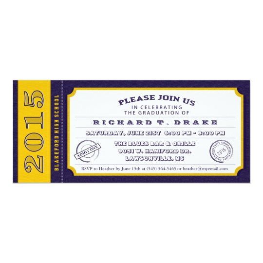 Purple & Gold Ticket Graduation Party Invitation
