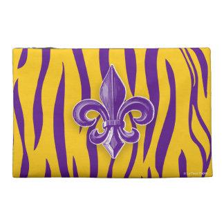 Purple & Gold  Tiger Stripe w/ Fleur de Lis Travel Accessories Bag