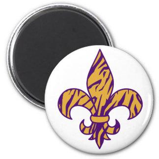 Purple & Gold Tiger Striped Fleur de Lis Magnet