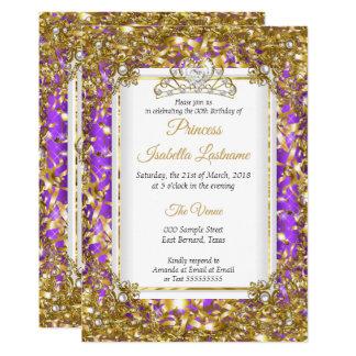 Purple Gold White Pearl Tiara Birthday Party Card
