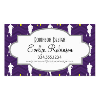 Purple, Gold Yellow, White, Baseball Chevron Pack Of Standard Business Cards