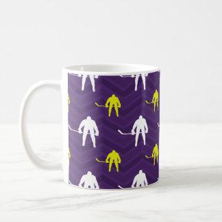 Purple, Gold Yellow, White, Ice Hockey, Chevron Classic White Coffee Mug