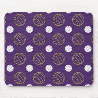 Purple, Gold Yellow, White, Volleyball Chevron Mouse Mat