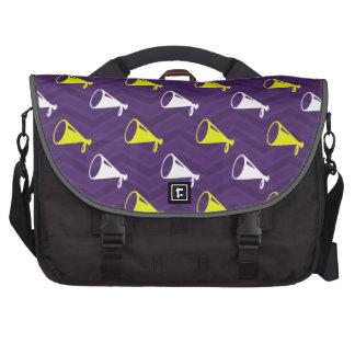 Purple, Golden Yellow, White, Cheerleader Chevron Bags For Laptop