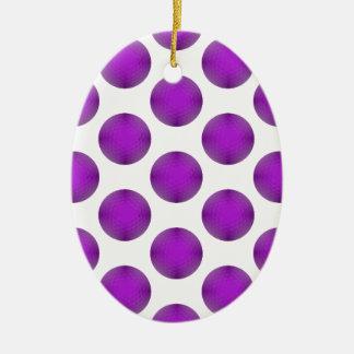 Purple Golf Ball Polka Dot Pattern Christmas Ornament