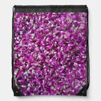 Purple Gomphrena Drawstring Backpacks