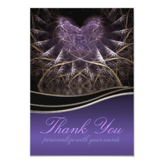 Purple Goth Heart Thank You Note 3.5x5 Paper Invitation Card
