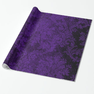 Purple Goth Victorian Damask Vintage Wallpaper Wrapping Paper