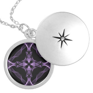 Purple Gothic Cross Locket Necklace