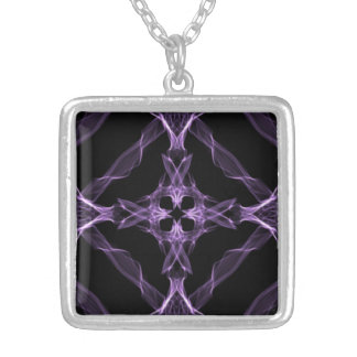 Purple Gothic Cross Silver Plated Necklace