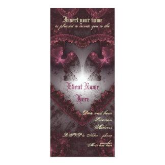 Purple Gothic Heart 001 10 Cm X 24 Cm Invitation Card