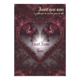 Purple Gothic Heart 001 13 Cm X 18 Cm Invitation Card