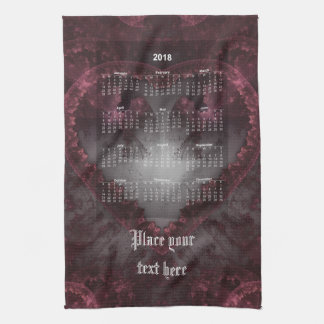 Purple Gothic Heart 001 - Calendar 2018 Tea Towel