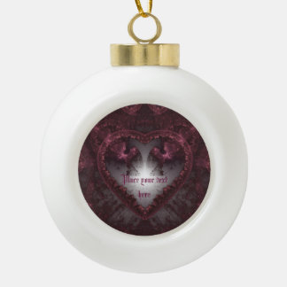 Purple Gothic Heart 001 Ceramic Ball Christmas Ornament