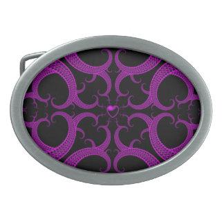 Purple Gothic Heart Fractal Belt Buckle