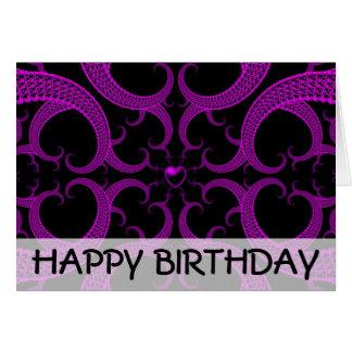 Purple Gothic Heart Fractal Birthday Card