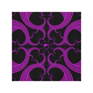 Purple Gothic Heart Fractal Canvas Print