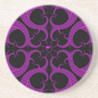 Purple Gothic Heart Fractal Coaster