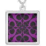 Purple Gothic Heart Fractal Personalised Necklace