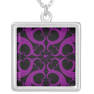 Purple Gothic Heart Fractal Silver Plated Necklace