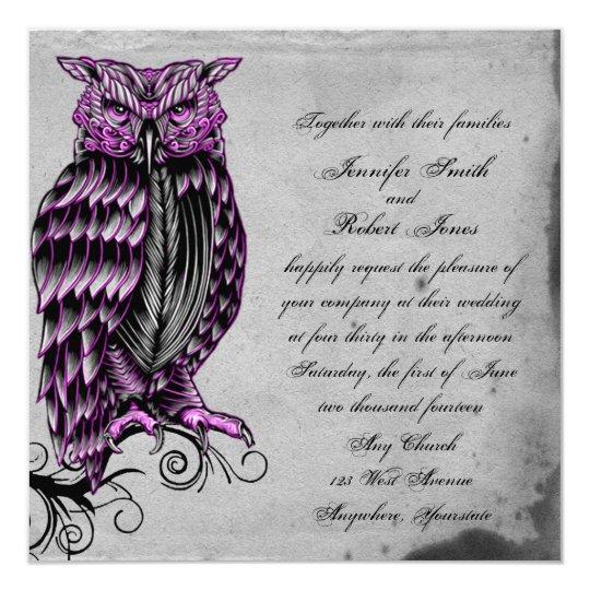 Purple Gothic Owl Posh Wedding Invitation