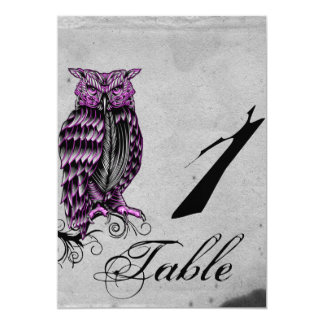 Purple Gothic Owl Posh Wedding Table Number