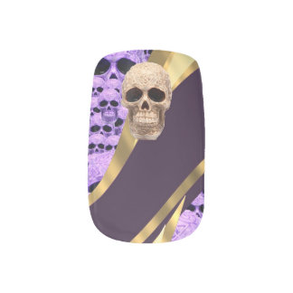 Purple Gothic skull and gold pattern Minx Nail Art