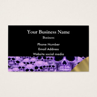 Purple gothic skull  pattern business card