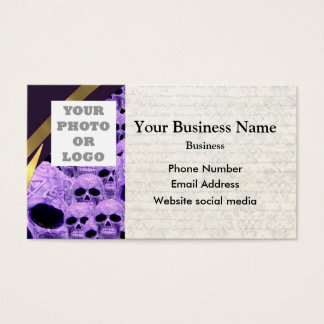Purple gothic skull pattern photo template business card