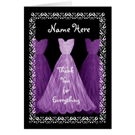 Purple Gowns MAID OF HONOUR Wedding Thank You V5 Cards