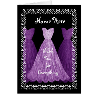 Purple Gowns MAID OF HONOUR Wedding Thank You V5 Greeting Card