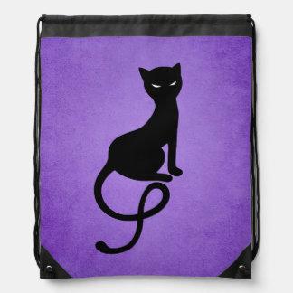 Purple Gracious Evil Black Cat Drawstring Bag