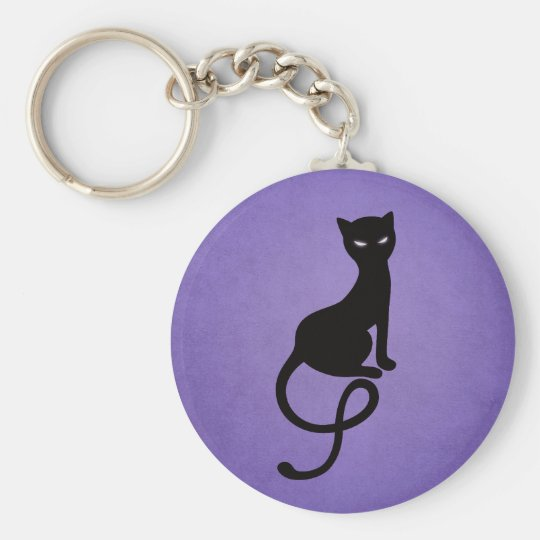 Purple Gracious Evil Black Cat Key Ring