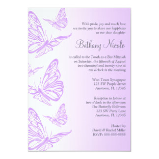 Purple Gradient Butterfly Bat Mitzvah Invitations
