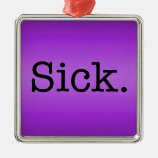 Purple Gradient Sick Slang Quote Silver-Colored Square Decoration