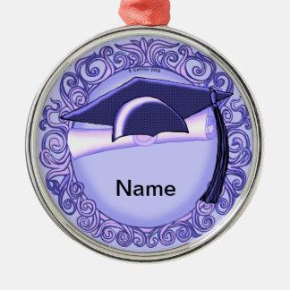 Purple Graduation Cap custom name Metal Ornament