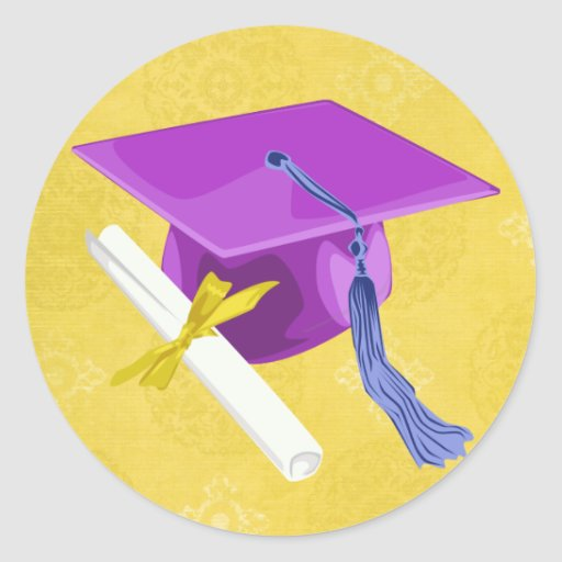 Purple Graduation Cap Sticker