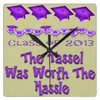 Purple Graduation Caps Wall Clock