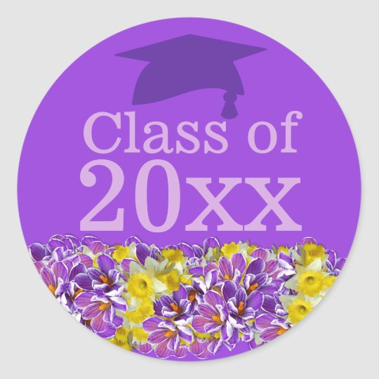 Purple Graduation Sticker w Spring Flowers