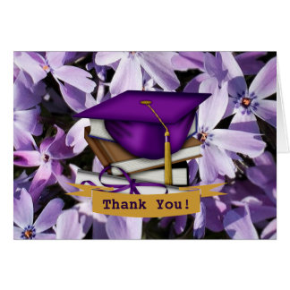 Purple Graduation Thank You Note Cards