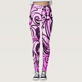 Purple Graffiti Airbrush Art Custom Leggings