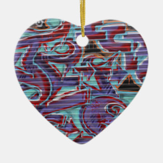 Purple Graffiti on Shutter Ceramic Heart Decoration