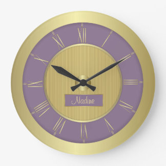 Purple grape and gold large clock