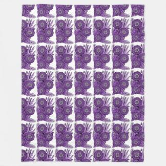 Purple Grape Gerbera Daisy Flower Bouquet Fleece Blanket