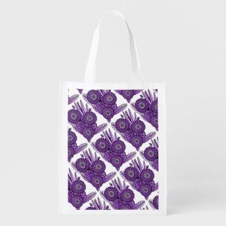 Purple Grape Gerbera Daisy Flower Bouquet Reusable Grocery Bag