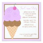 Purple Grape Ice Cream Cone 5.25x5.25 Square Paper Invitation Card
