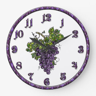 Purple Grape Large Clock
